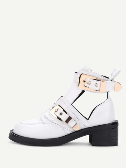 Double Buckle Zipper Design PU Shoes