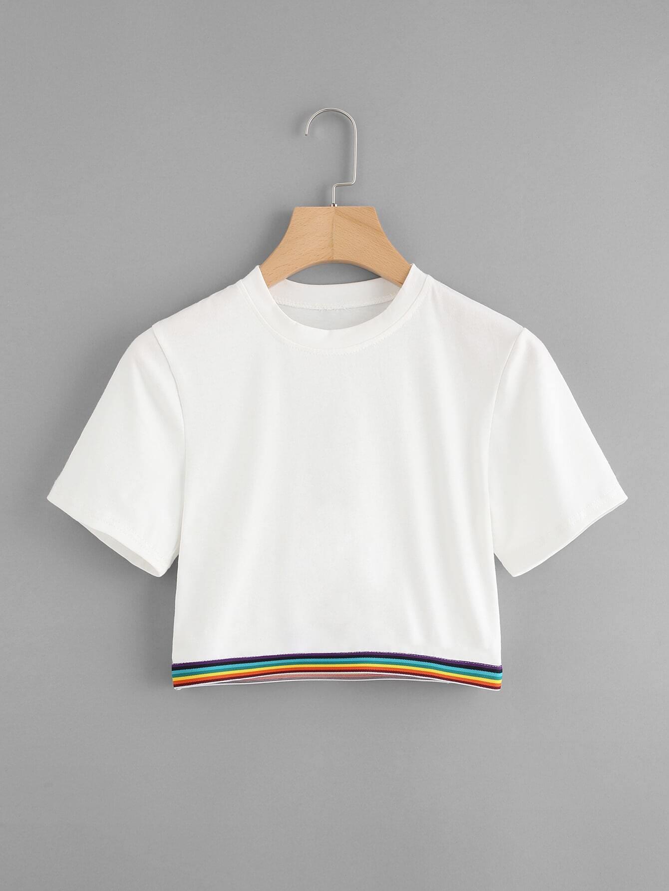 Rainbow Stripe Tape Detail Crop Tshirt striped longline tshirt