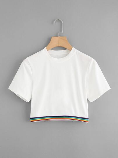Rainbow Stripe Tape Detail Crop Tshirt