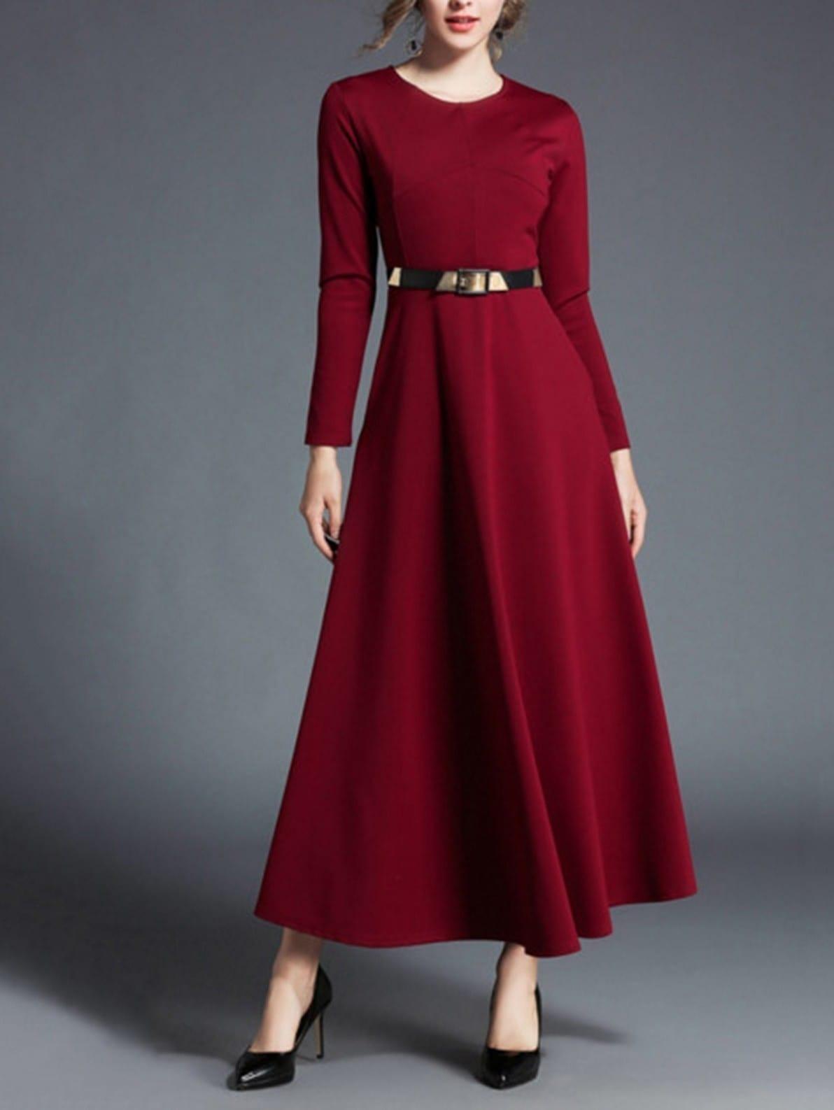 Longline Dress With Belt
