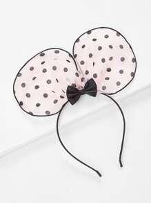 Polka Dot Ear & Bow Design Headband