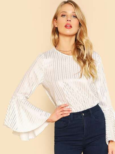 Flounce Sleeve Glitter Striped Top