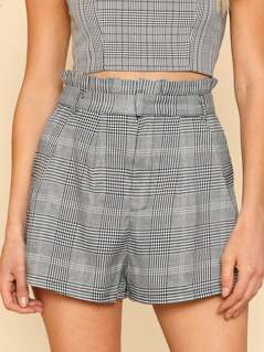 Ruffle Trim Plaid Shorts GREY