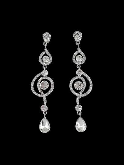 Rhinestone Crystal Shape Long Hanging Earrings