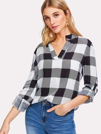 V Placket Roll Sleeve Check Blouse