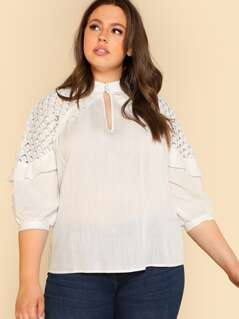 Plus Guipure Lace Ruffle Trim Sleeve Top
