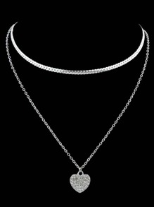 Silver Love Gemstone Two-Layers Necklace