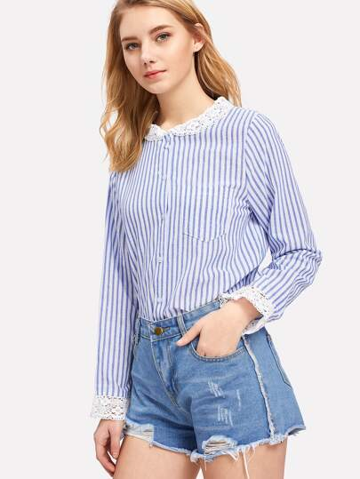 Contrast Lace Collar Pinstripe Shirt