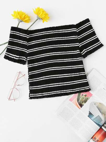 Off Shoulder Striped Crop Tee