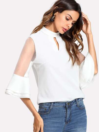 Mesh Insert Layered Sleeve Zip Back Top