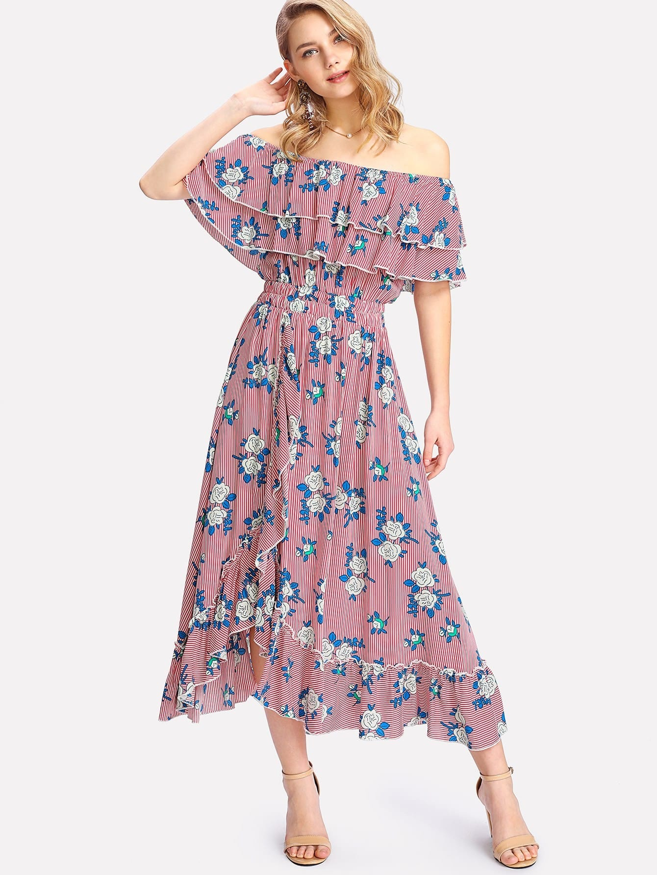 Mixed Print Tiered Ruffle Bardot Dress все цены