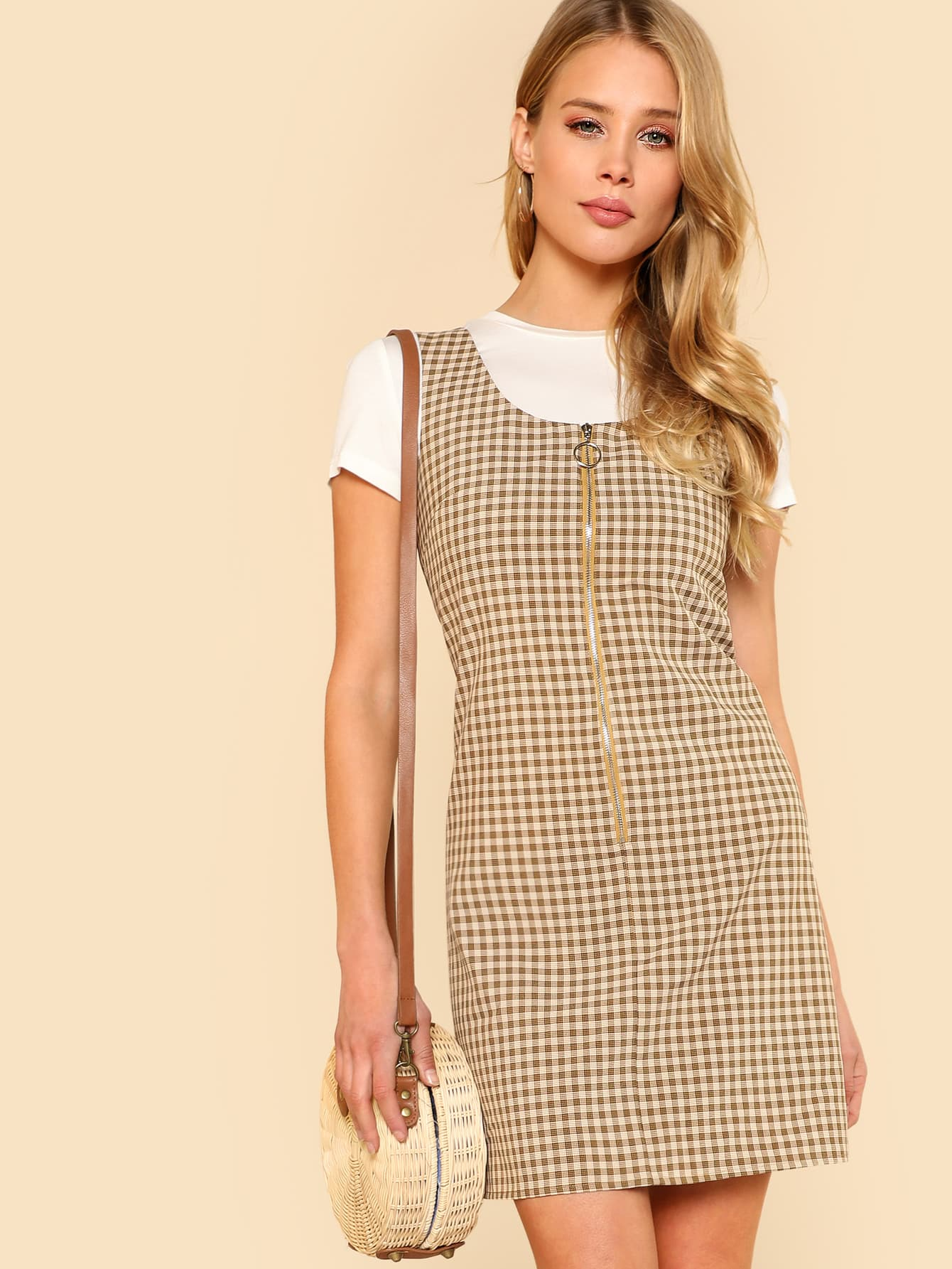 O-Ring Zipper Front Plaid Overall Dress overall yumi overall
