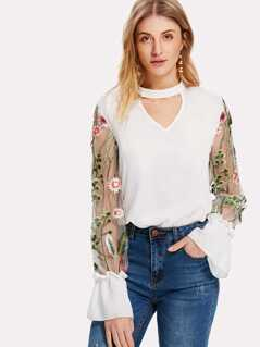 Embroidered Mesh Sleeve Choker Neck Top