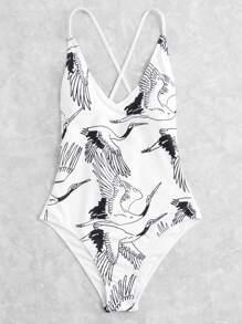 Crane Print Lace Up Back Swimsuit