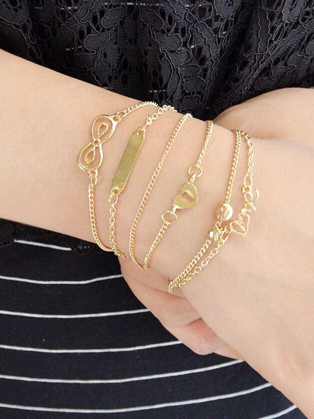 5Pcs/Set Boho Chic Heart Geometric Love Letter Charm Bracelets
