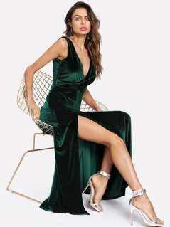 Overlap Front High Slit Velvet Dress