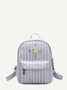 Studded Detail Vertical Striped PU Backpack