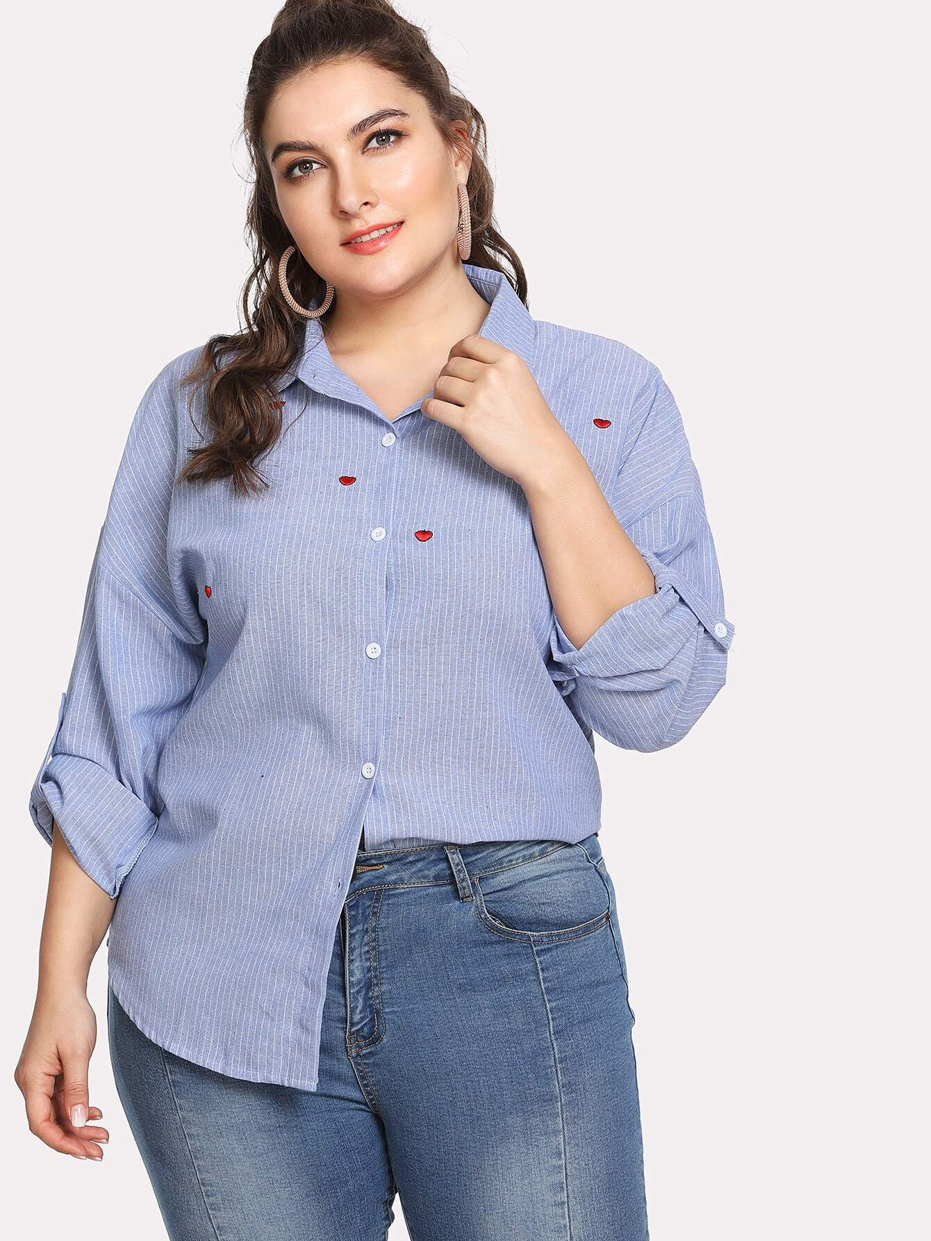 Plus Heart Embroidery Pinstripe Dolphin Hem Shirt