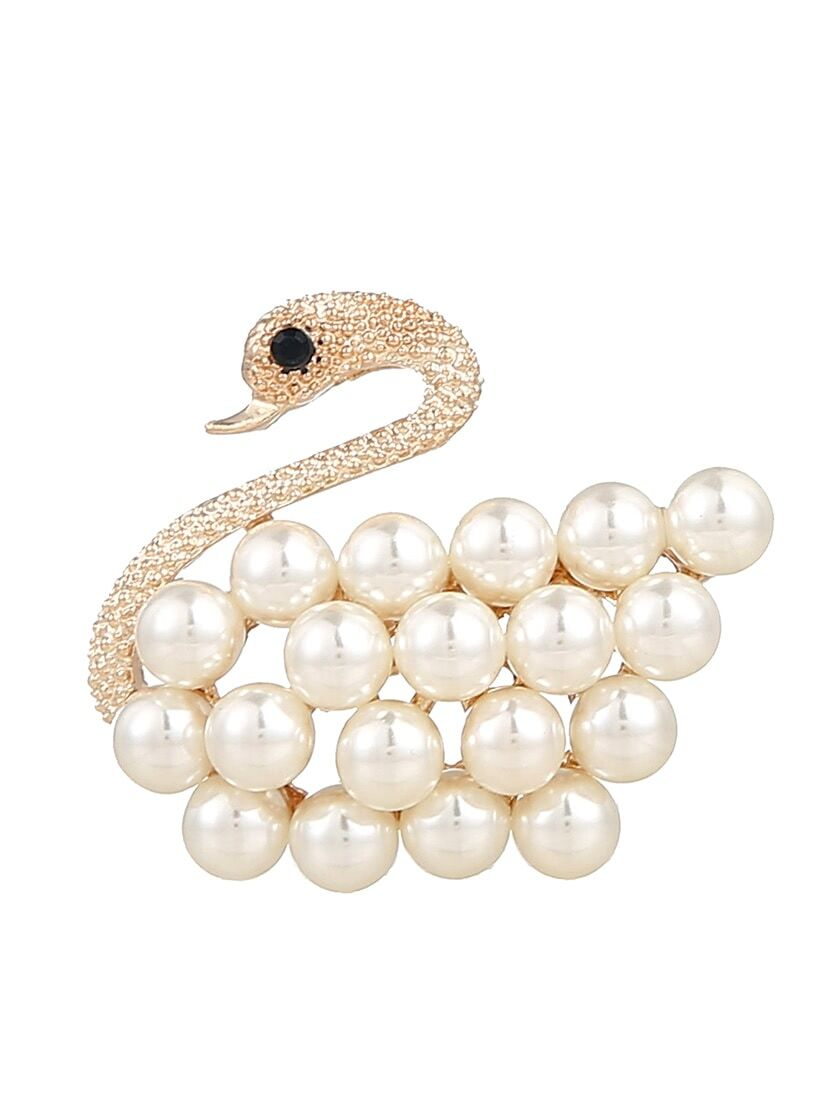Faux Pearl Decorated Swan Brooch все цены