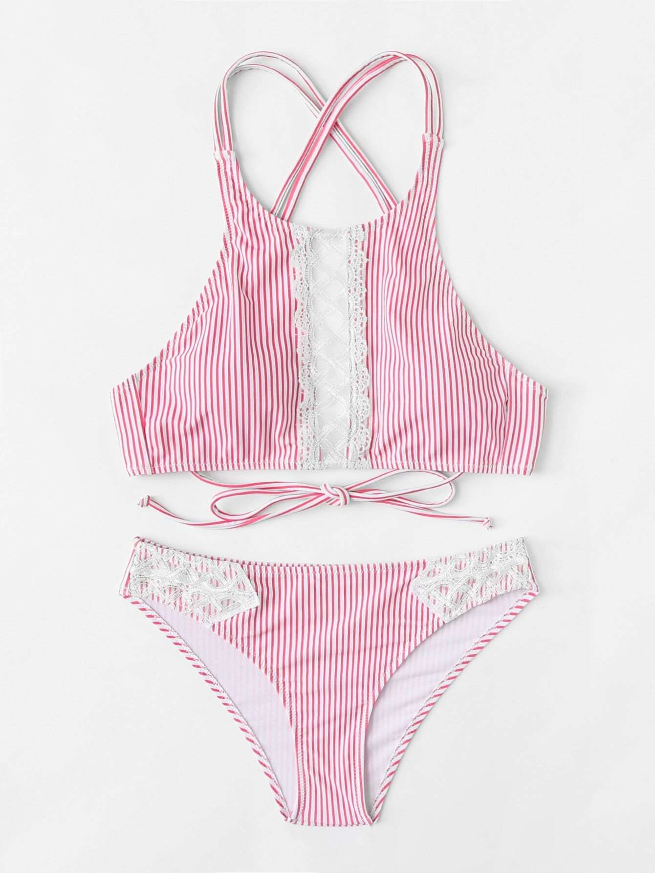 Contrast Lace Striped Bikini Set contrast lace high neck bikini set
