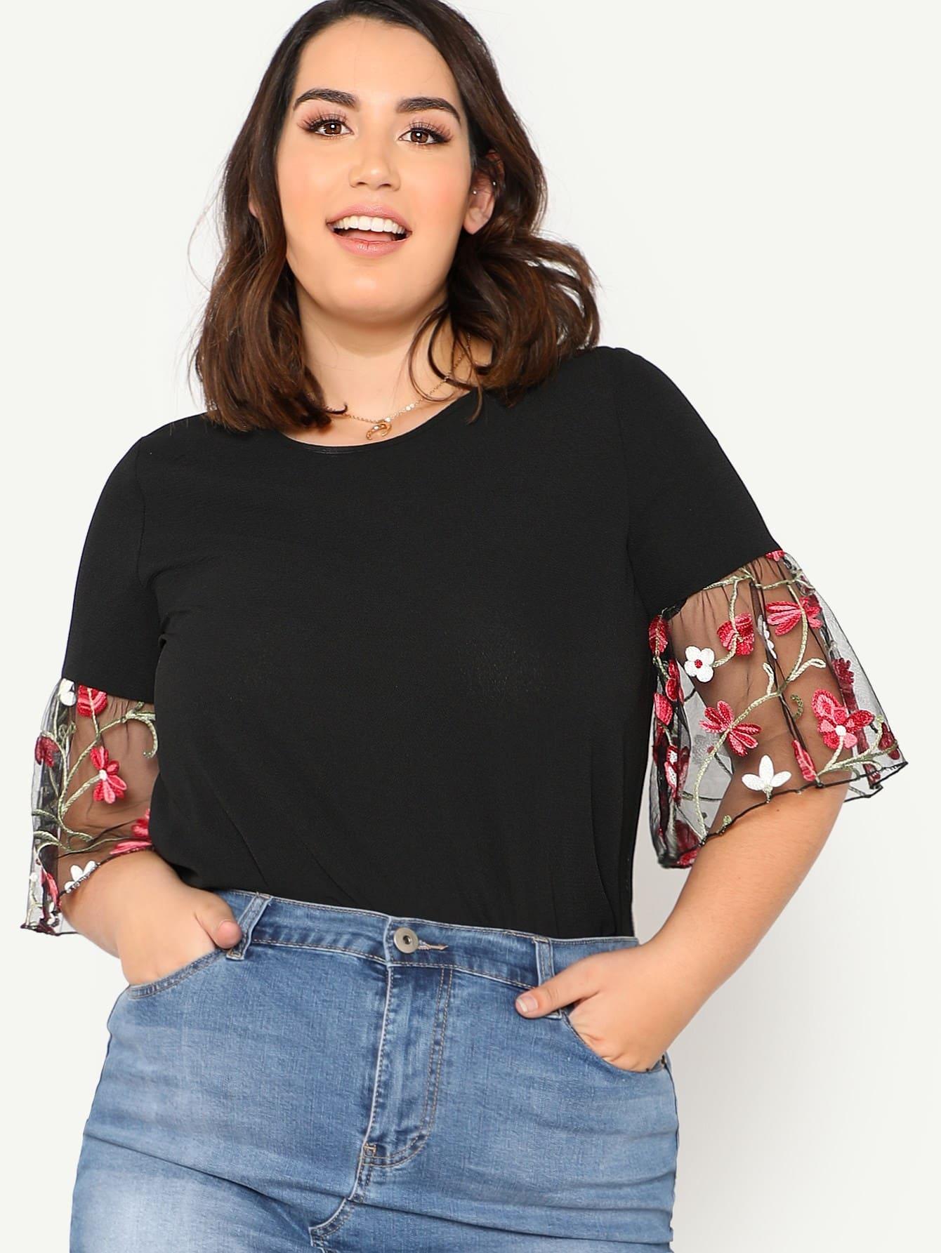 Купить Модный топ с цветочной вышивкой, Jessica Lauren, SheIn