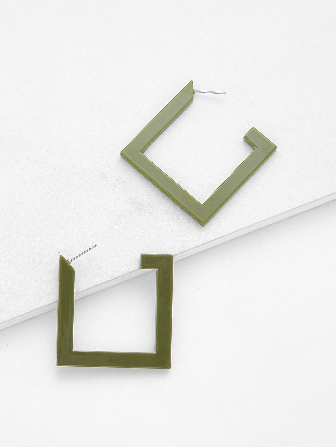 Geometric Design Drop Earrings two tone face design drop earrings