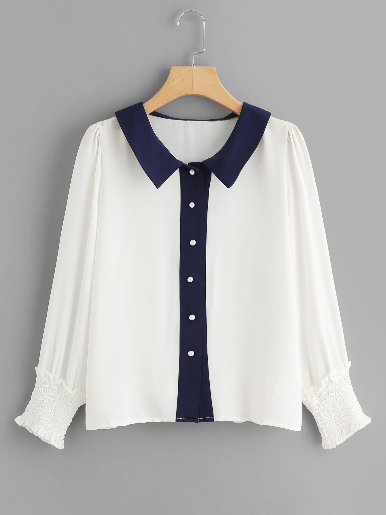 Contrast Trim Puff Sleeve Shirred Cuff Shirt contrast scallop trim balloon sleeve shirt