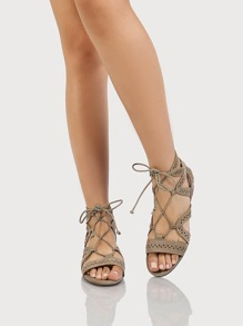 Geometric Strappy Gladiator Sandals LIGHT TAUPE