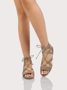 Geometric Strappy Gladiator Sandals LIGHT TAUPE