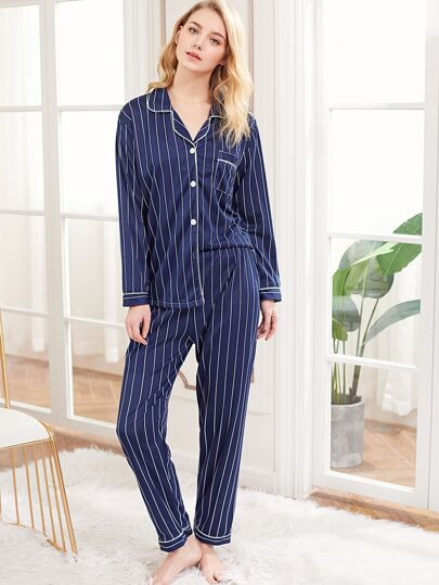 Contrast Binding Striped PJ Set