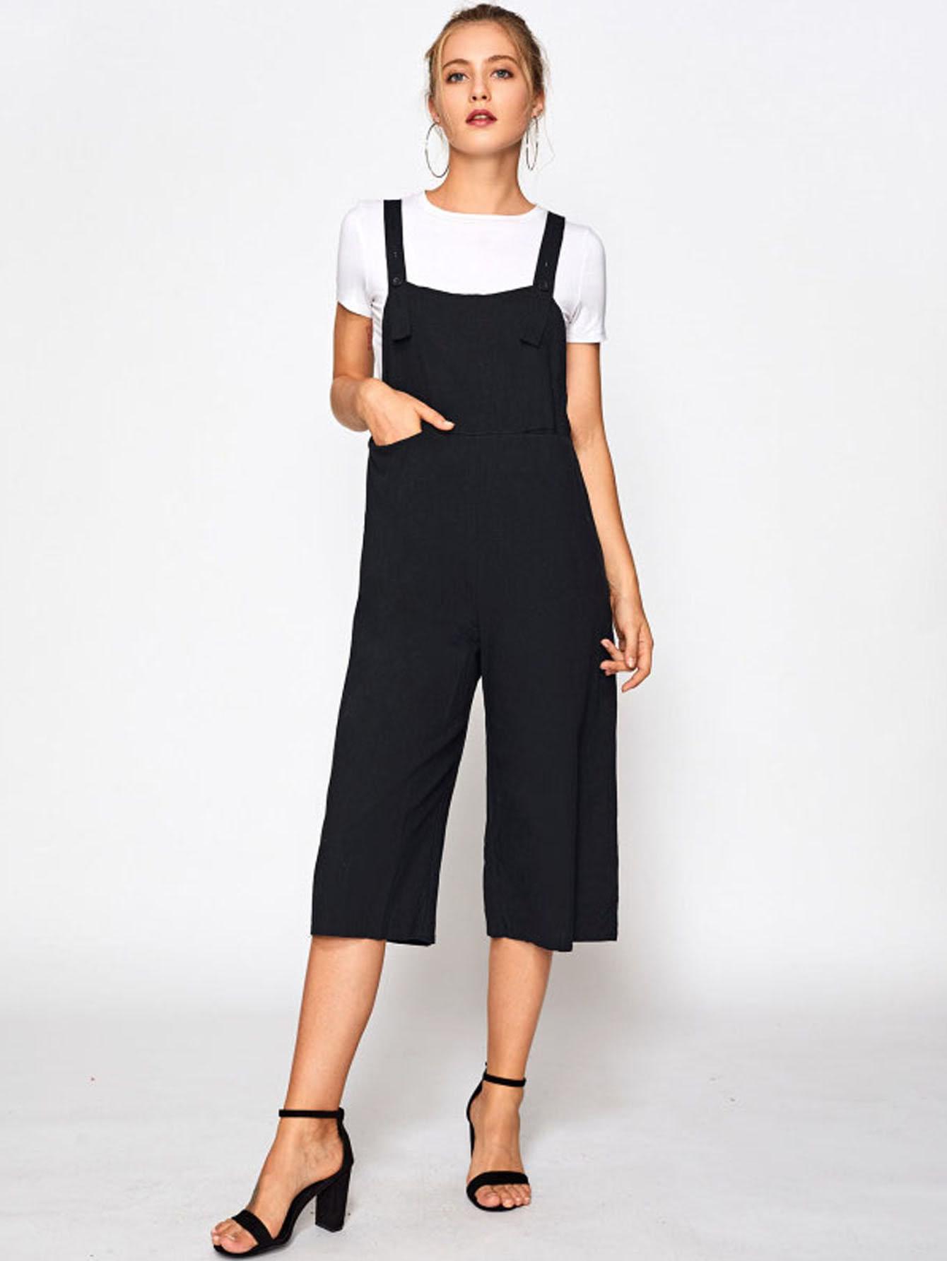 Wide Leg Crop Pinafore Jumpsuit