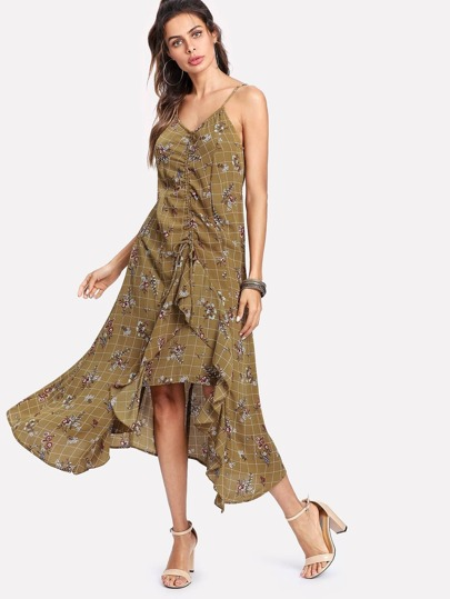 Shirred Front Ruffle Trim Mixed Print Cami Dress