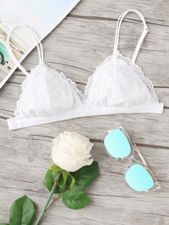 Triangle Floral Lace Bralette