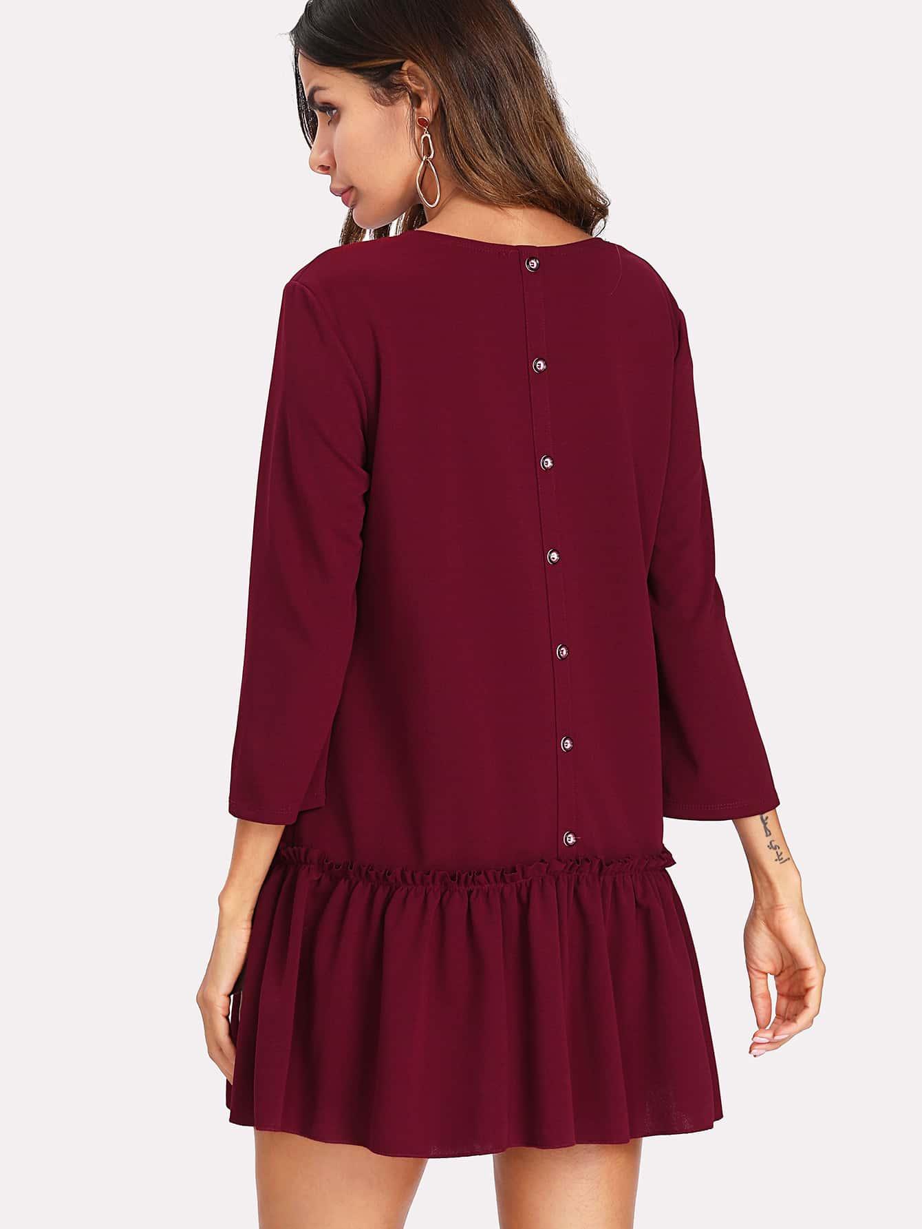 Ruffle Hem Solid Dress tied neck solid ruffle hem dress