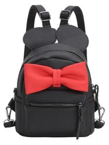 Contrast Oversized Bow Tie Embellished Backpack