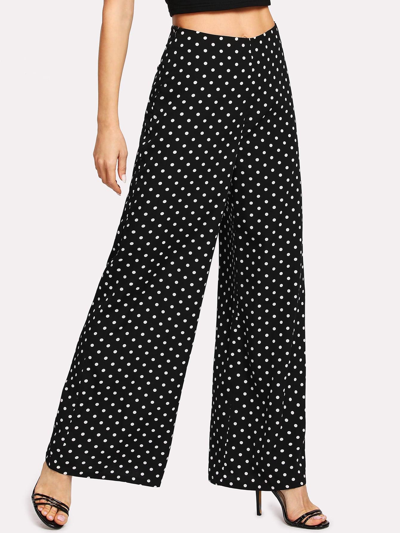 Купить Модные широкие брюки в горошек, Natalib, SheIn