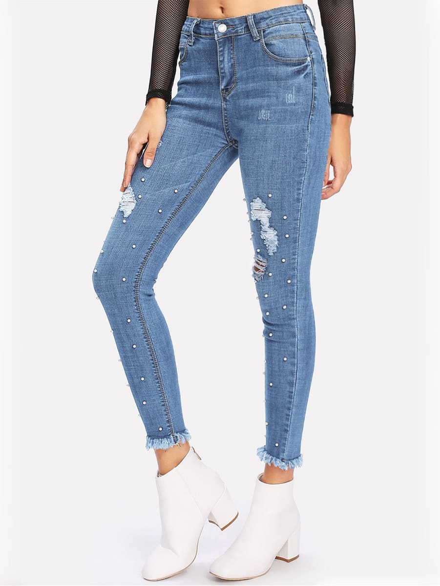 Faux Pearl Detail Frayed Hem Ripped Jeans