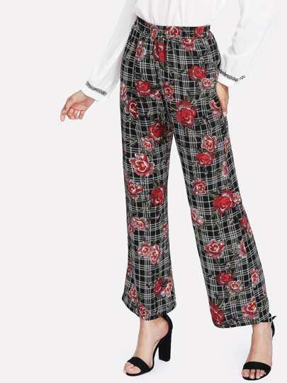 Mixed Print Straight Leg Pants