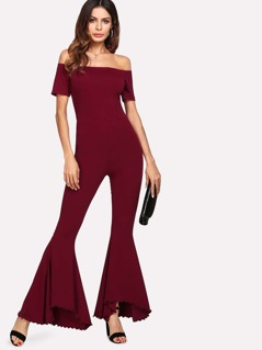 Lettuce Trim Detail Flared Bardot Jumpsuit