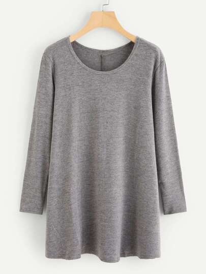 Solid Marled Knit Tee