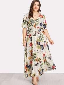 Button Front Shirred Waist Tropical Dress
