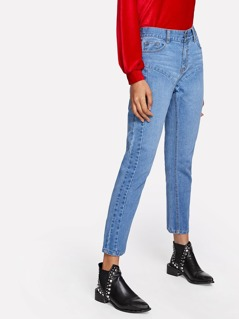 Cut And Sew High Waist Jeans