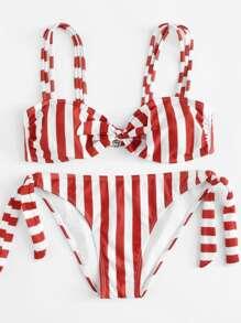 Tie Side Striped Bikini Set