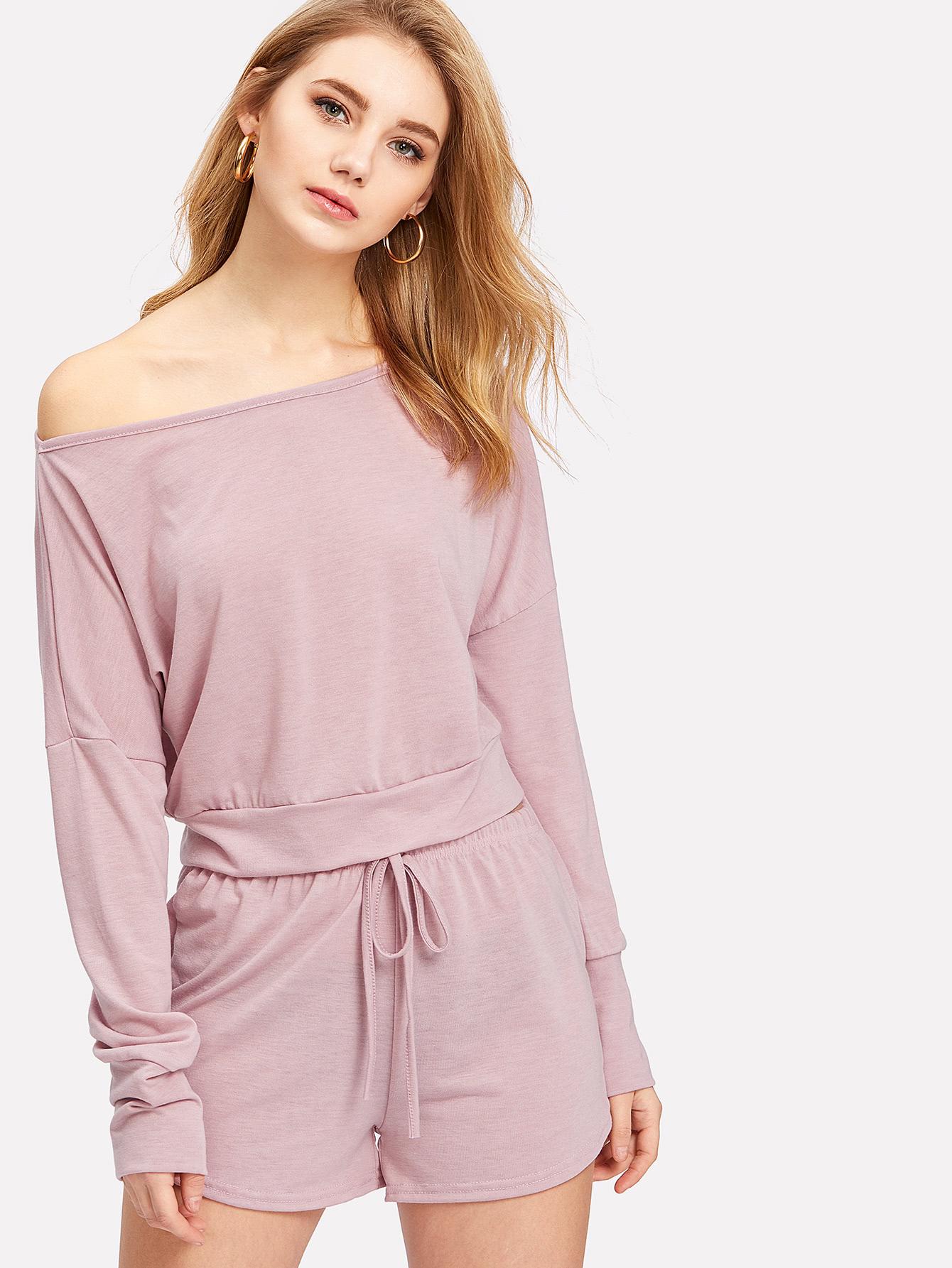 Drop Shoulder Crop Pullover With Shorts drop shoulder water color crop sweatshirt