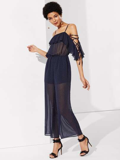 Lace Up Sleeve Semi Sheer Polka Dot Jumpsuit