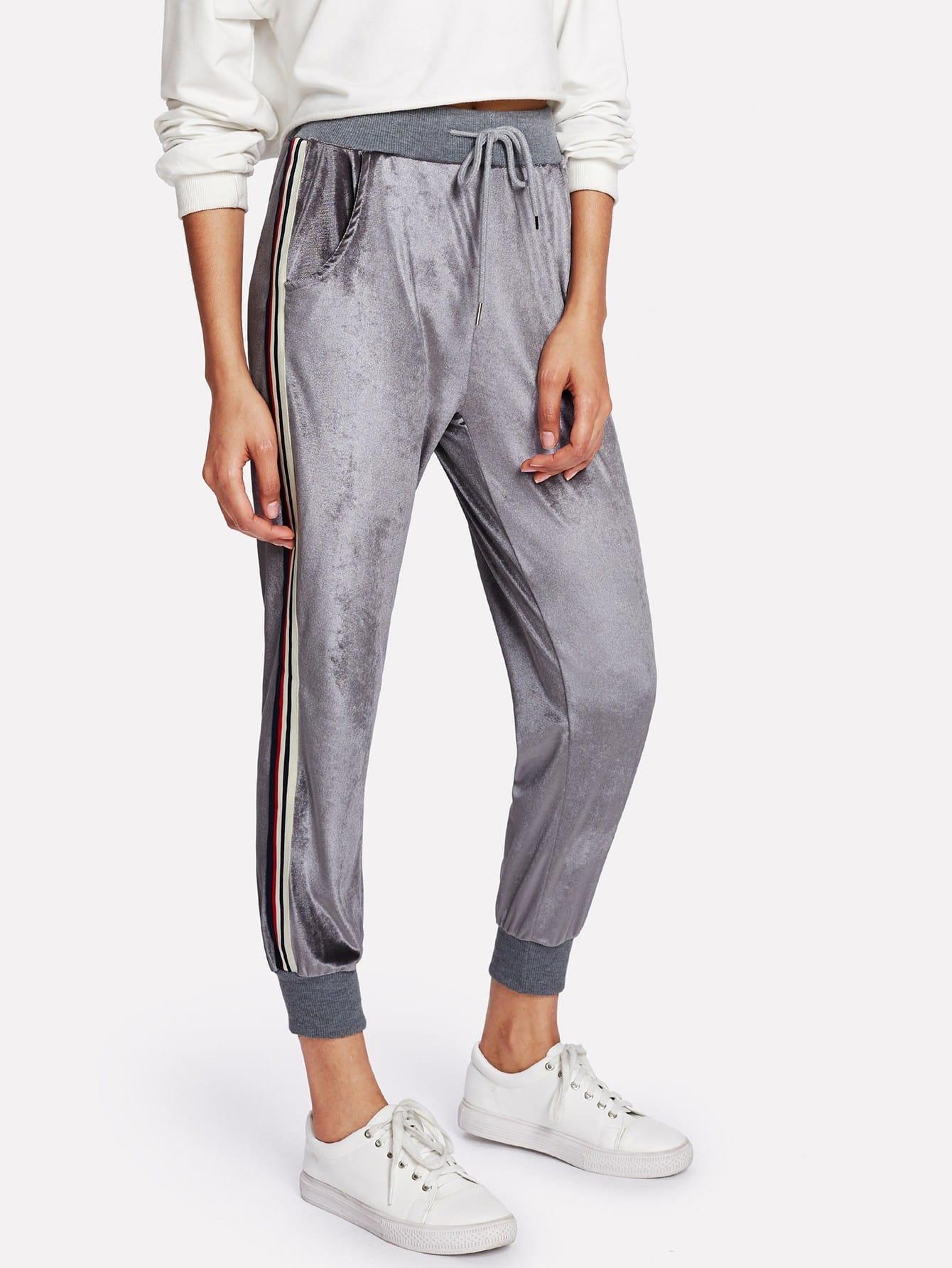 Striped Tape Side Velvet Pants striped tape side cuffed pants