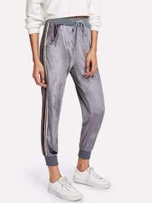 Striped Tape Side Velvet Pants