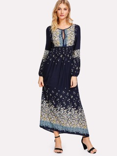 Tasseled Tie High Waist Floral Dress