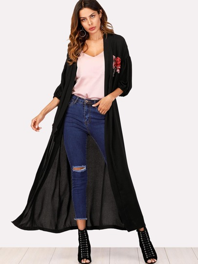 Embroidered Applique Wrap Coat