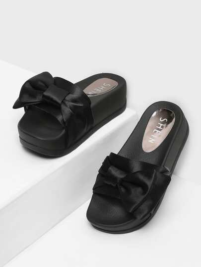 Bow Decorated Flatform Satin Sandals